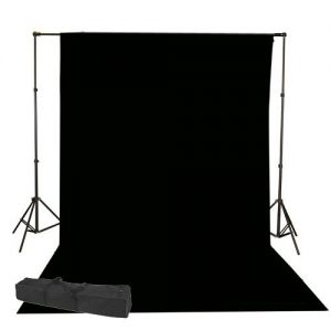 Fancierstudio Black Muslin Backdrop Support System Kit, 10 x 20 Black Muslin Backdrop-0