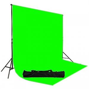 Chromakey Green Screen Muslin Backdrop Support System Kit, 10x12 Ft Chromakey Green Muslin Backdrop UL30 10x12 Green-0