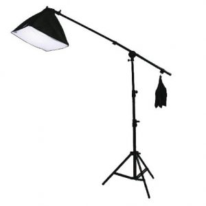 Three Softbox 2700 Watt Photography Video Hair Boom Light Lighting Kit 10x12 Chromakey GREEN Muslin Background Support Stand Case Kit H604SB-1012G-1367