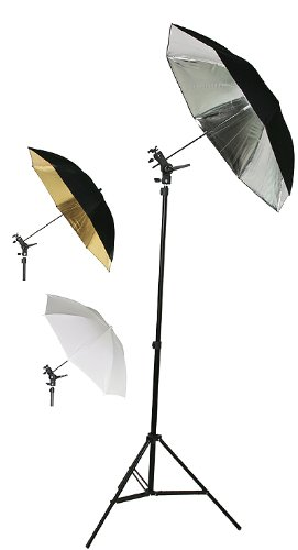 Double Photo Studio Flash, Mount, and Umbrellas Kit with Carry Case UBC4-0