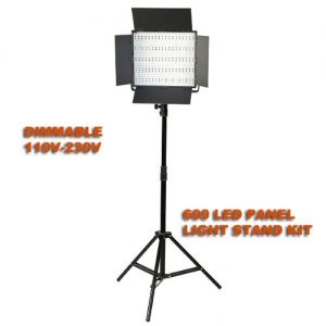 Dimmable 600 LED Panel Light Stand Combo Kit 100V-230V-0