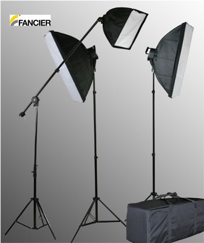 2800 Watt Lighting Kit With Boom Arm Hairlight Softbox Lighting Kit-0