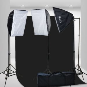2400 Watt Video Photography Continuous Lighting 3 Softbox Light Kit with 10x12 Black Muslin Support Stand System Case H9004S3-1012B-0