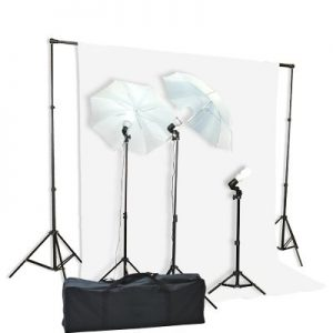 1000 Watt Lighting Kit With Backdrop Support System And 6'x9' Black White Muslin Backdrop K105 6x9BW-386