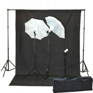 1000 Watt Lighting Kit With Backdrop Support System And 6'x9' Black White Muslin Backdrop K105 6x9BW-382