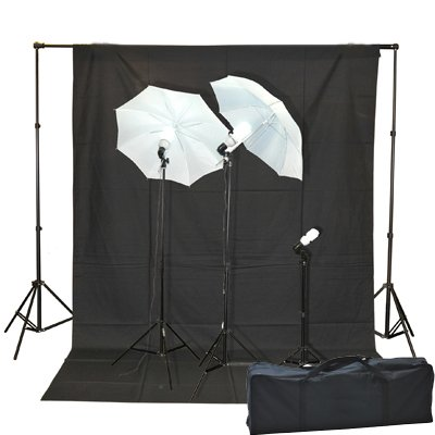 1000 Watt Lighting Kit With Backdrop Support System And 6'x9' Black White Muslin Backdrop K105 6x9BW-0