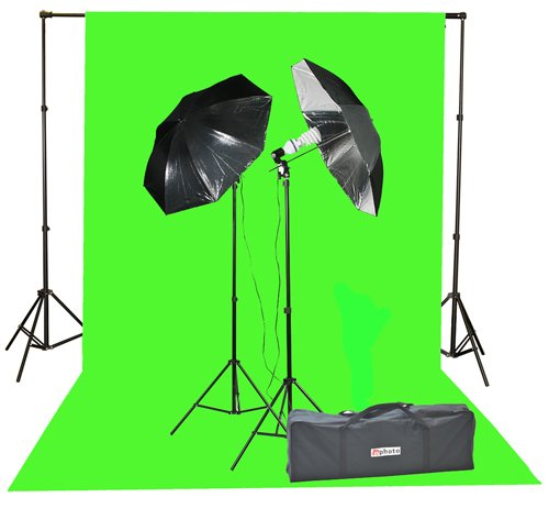 800 Watt Video Lighting Kit Photo Studio Kit Umbrella Softbox Kit K15 10x20G SLV-0