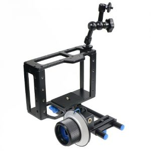 DIGITAL DSLR Video Camera Cage Bracket Stabilizer Bundle, Follow Focus, Friction Arm CAGEFOCUS-1162
