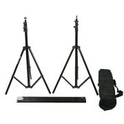 Fancierstudio Black Muslin Backdrop Support System Kit, 10 x 20 Black Muslin Backdrop-950