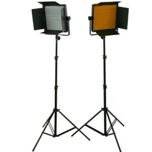 2 x Dimmerable 600 LED Video Photo Studio Lighting Lite Panel with Stands, Sony V mount, 110V-230V-0