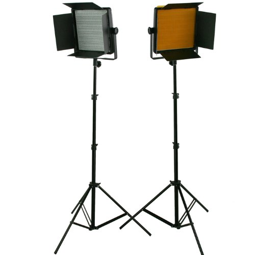 2 x Dimmerable 600 LED Video Photo Studio Lighting Lite Panel with Stands, Sony V mount, 110V-230V-1589