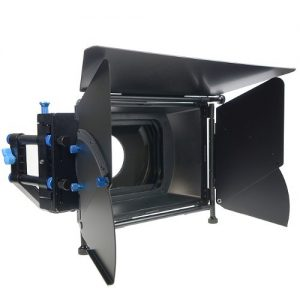 Pro DSLR RIG FOLLOW FOCUS Matte Box with 2 Stage 15mm Swing away Arm, Top French Flags & Side Wings, Rubber Donut, Filter Stage and Filter Tray M2-1107
