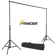 Fancierstudio Black Muslin Backdrop Support System Kit, 10 x 20 Black Muslin Backdrop-948