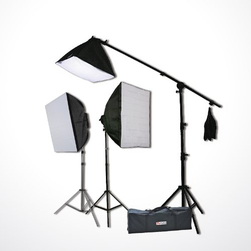 Digital Photography Video Continuous Softbox Lighting Kit Photo Studio CFL Perfect Daylight Light Kit With BOOM STAND Hair LIGHTING KIT CARRY BAG H9060SB-0