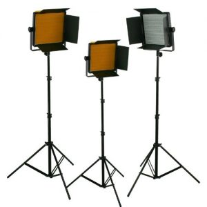 3 x Dimmable 600 LED Video Light Panel with Stand Combo Runs on 110v - 230v Power supply-1594