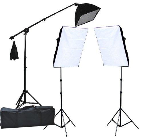 2400 Watt Lighting Kit With Boom Arm Hairlight Softbox Lighting Kit 9004SB2-0