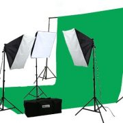 2400 Watt Continuous Video Photography Studio Chromakey Green Screen Lighting Kit H9004S3-1020G-0