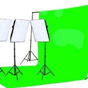 2400 Watt Chromakey Green Screen Video Lighting Kit VL9004S3 +TB Green Kit-0