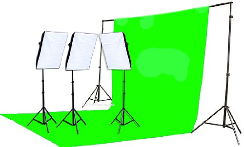 2400 Watt Chromakey Green Screen Video Lighting Kit VL9004S3 +TB Green Kit-0