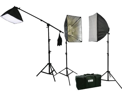 3pcs Chromakey Green, Black, White Muslin Background Backdrop Support Stand & Complete 3200 Watt Video Photography Studio Lighting Kit H604SB2-69BWG-1359