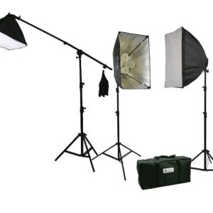 Three Softbox 2700 Watt Photography Video Hair Boom Light Lighting Kit 10x12 Chromakey GREEN Muslin Background Support Stand Case Kit H604SB-1012G-1371
