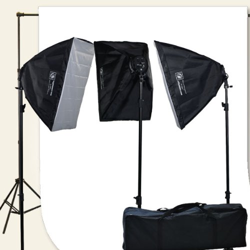 Continuous Photography Video Studio 3 Softbox & 10 x 12 White Muslin Background Support System Set H9004S3-1012W-0