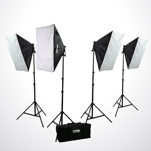 H9004S4 3200 Watt Digital Photography Photo Video Continuous Lighting Light Kit Carrying Case-0