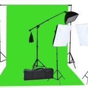 2000 Watt Photo Video Lighting Kit with Hairlight Boomstand U9004SB-10x12BWG-214