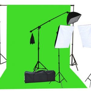2000 Watt Photo Video Lighting Kit with Hairlight Boomstand U9004SB-10x12BWG-214