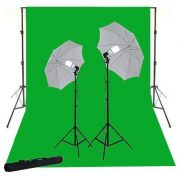 10X24 Photo Video Muslin Chromakey Photography Studio Continuous Light Kit and Stands K15+10x24green-0