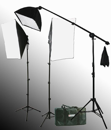 2000 Watt Lighting Kit With Boom Arm Hairlight Softbox Lighting Kit-238