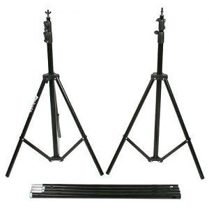 Fancierstudio Black Muslin Backdrop Support System Kit, 10 x 20 Black Muslin Backdrop-951