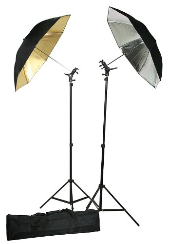 Double Photo Studio Flash, Mount, and Umbrellas Kit with Carry Case UBC4-400