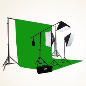 H9004SB-1012G ChromaKey Green Screen Video Photography Boom Stand Lighting Background Support Kit-0