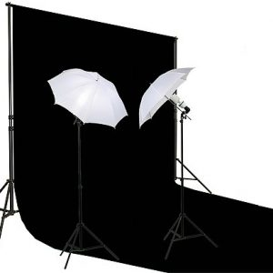 10' X 20' Black Muslin Backdrop Umbrella Softbox Lighting Kit K15 10x20Black-0