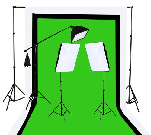 2000 Watt Photo Video Lighting Kit with Hairlight Boomstand U9004SB-10x12BWG-0