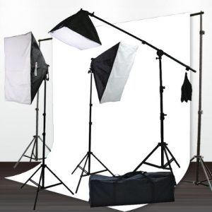 H9004SB-1012W Muslin Support Boom Hair light Stand with 3 Softbox Photography Video Lighting Kit - 10x12 (White)-0