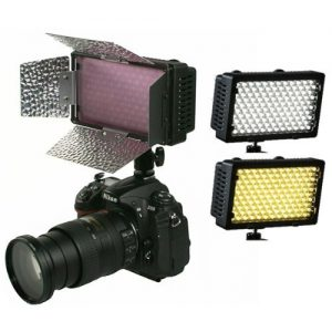 240CHB 240 LED Dimmable Hot Shoe Light with Barndoor and Diffuser-0