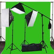 2400 Watt Photography Studio Video Light Lighting 10x20 Green Screen Background Stands Case Kits H9004SB2-1020G-0