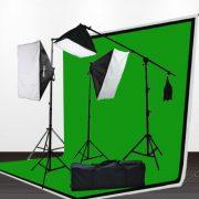 3pcs 6x9 Chromakey Green Black White Screen Muslins Backdrops Background Support Kit 2400 Watt Photography Video Lighting Studio Photo Portrait Lights with Case H9004SB2-69BWG-0