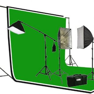 2700 Watt PHOTOGRAPHY STUDIO VIDEO CONTINUOUS LIGHTING SOFTBOX KIT 3PC 6 x 9 Muslin ChromaKey Green, Black, White Background Support Stand Kit H604SB-69BWG-1335