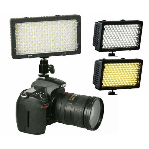 Professional 240 LED Bi Color Video Light Panel l W/ Color Temperature Switch 3200K-5400K & Brightness Dimmer CN240CH-0