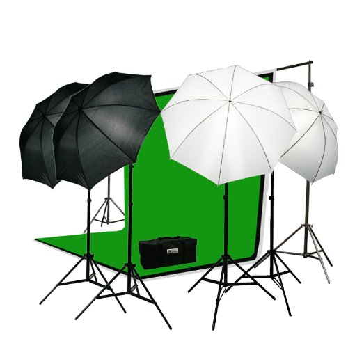 Premium Portrait Photography Studio Video Lighting Kit with 3 Chromakey Black, White, Green Muslin Supporting Background Stand System Case H4045-0