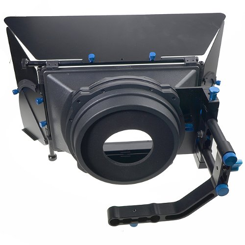 Pro DSLR RIG FOLLOW FOCUS Matte Box with 2 Stage 15mm Swing away Arm, Top French Flags & Side Wings, Rubber Donut, Filter Stage and Filter Tray M2-1106