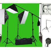 3200 Watt Softbox Photo Video Studio Portrait Lighting with 10x12 CHROMAKEY Muslin Green Screen Backdrop Support Stand Set H604SB2-1012G-0