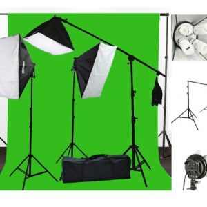 10 x 20 Muslin Chromakey Green Screen Background Support Stand Kit 2700 Watt Hair Light Boom Stand Studio Photo Video Lighting Kit H604SB-1020G-0