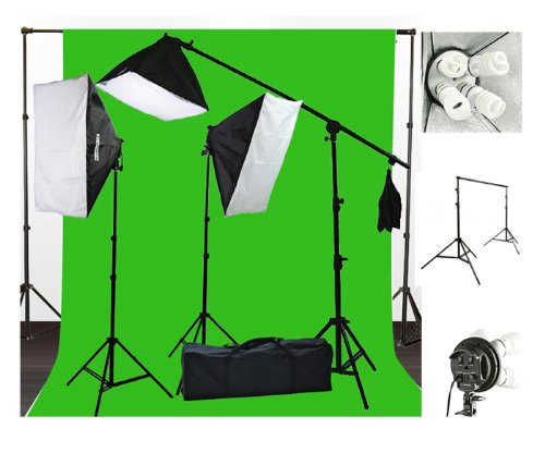 10 x 20 Muslin Chromakey Green Screen Background Support Stand Kit 2700 Watt Hair Light Boom Stand Studio Photo Video Lighting Kit H604SB-1020G-1295