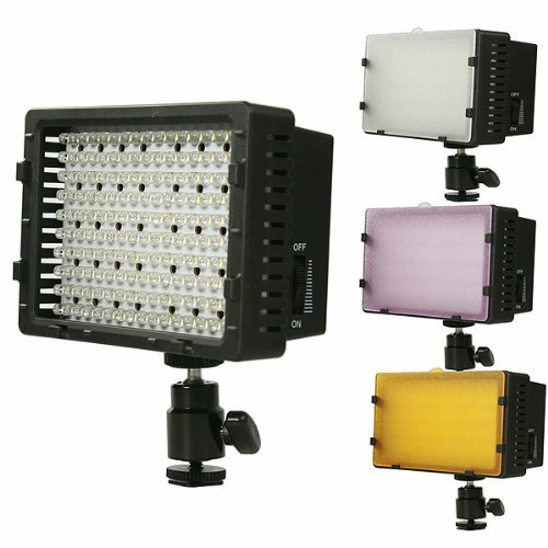 On Camera DV Camcorder DSLR 170 LED Video Photo Lite Panel Lighting with Metal Swivel Hotshoe Adapter CN170-0