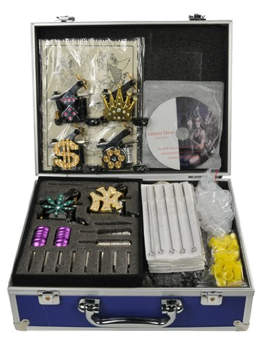 Premium Tatoo Kit 6 Tattoo Guns Kit with LCD Power Supply Tattoo Machine Kit By Fancierstudio A08-0