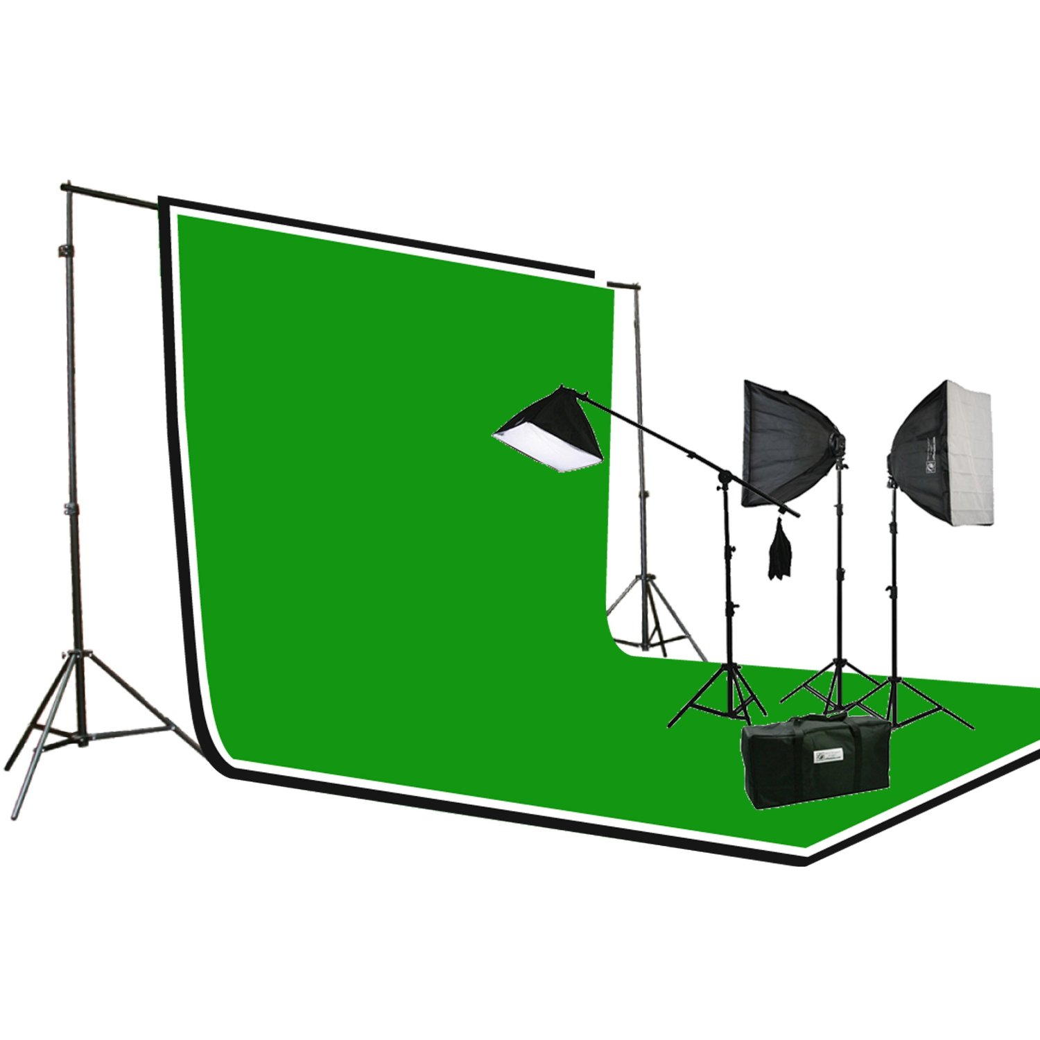 3pcs Chromakey Green, Black, White Muslin Background Backdrop Support Stand & Complete 3200 Watt Video Photography Studio Lighting Kit H604SB2-69BWG-0